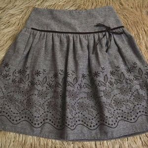 Joe Benbasset Tweed Skirt with Brown Velvet Floral